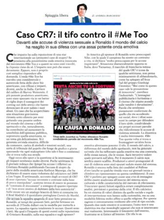 Caso CR7: il tifo contro il #MeToo