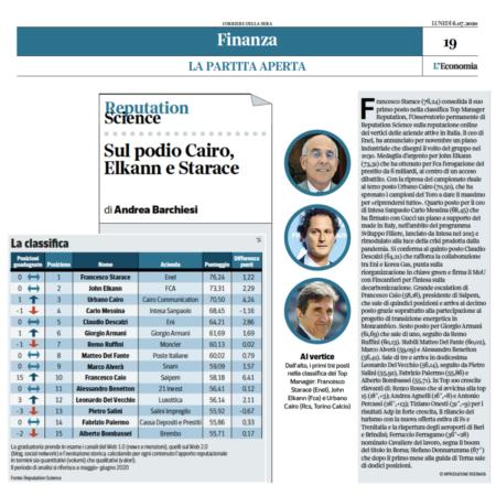 Sul podio Starace, Elkann e Cairo: la classifica Top Manager Reputation a giugno