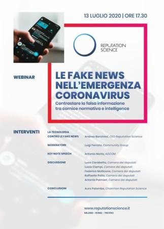 """""""Le fake news nell'emergenza coronavirus"""": il webinar di Reputation Science"""