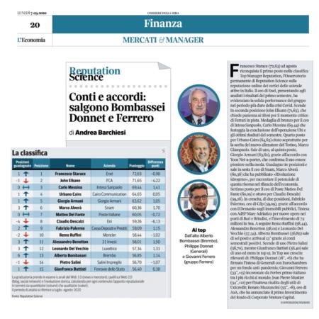 Sul podio Starace, Elkann e Messina: la classifica Top Manager Reputation ad agosto