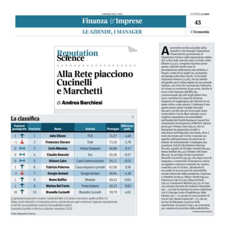 Top Manager Reputation: Elkann sale al primo posto, sul podio con Starace e Messina