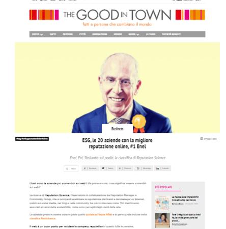 ESG Perception Index: intervista su The Good in Town