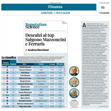 Top Manager Reputation: sul podio Descalzi, Starace e Elkann